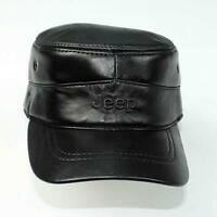 New Men Real 100% Leather Hat Adjustable Newsboy caps/ Military cap/ Flat Beret