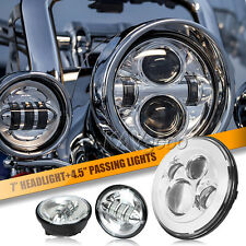 "7"" LED Projector Daymaker Headlight + Passing Lights Fits Harley Road King FLHTC"