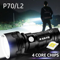 Camping Lamp LED Torch Rechargeable Flashlight Tactical Alloy One-Hand P70 L2