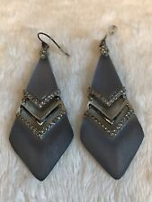 """HUGE Alexis Bittar BLUE Lucite Silver Earrings, CREAM BACKS - WIRES - 3"""""""