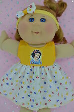 """Play n Wear Doll Clothes To Fit 14"""" Cabbage Patch YELLOW/FLORAL DRESS~HEADBAND"""