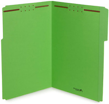 Blue Summit Supplies Green File Folders with Fasteners, Legal Size, 1/3 Cut Rein