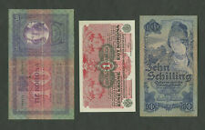 More details for austria  1904 1916 1933  group of 3 banknotes