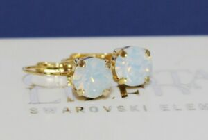 Choose Your Finish White Opal Leverback Earrings made with Swarovski Elements