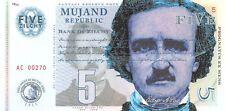 Mujand Republic Banknote 5 Zilchy 2013  Unc Specimen, Private, Note