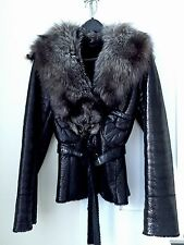 Shearling Coat With Real Fur Silver Fox Collar, Black, Sz.4
