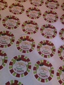 Christmas cookies 4 santa labels, sweet bags, schools parties 37mm x 35 stickers