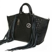 Raviani Fringe Satchel In Black Embossed Crocodile Cowhide leather W/ Fringe