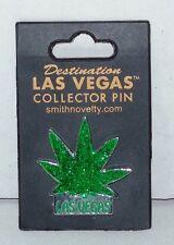 "Las Vegas ""Green Leaf"" Marijuana Glitter Souvenir/Collector Metal Lapel Pin-Back"