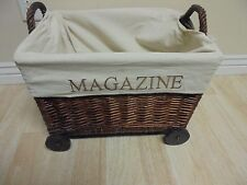 "14"" Adorable Magazine Whicker Lined Basket on Wheels 14 x 19 x 14"