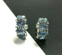 Vtg LISNER Rhinestone Semi Hoop Clip Earrings Blue Sapphire Silver MINT! SS34e