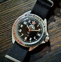 Soviet Diver Watch Vostok Komandirskie Military Black Dial Tank USSR