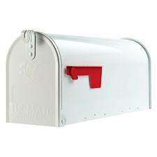 Medium Capacity Galvanized Steel White Post-Mount Mailbox Small Box, Magazines