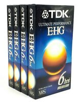 Lot of 4 TDK EHG Ultimate Performance 6hrs T-120 Blank VHS Tapes New Sealed