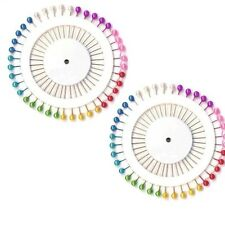 80 Multi Colour Round Pearlised Pins Hijab Scarve Dressmakers Sewing Tailor New