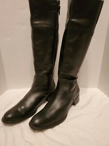 Sesto Meucci Knee High Boots Black Leather Size 8 M