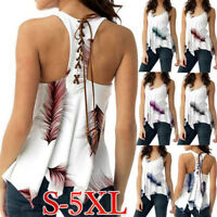 Lady O-Neck Plus Size Print Sleeveless Bandage Loose Tank Vest Blouse Tops Shirt