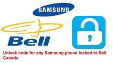 Unlock code for Samsung Galaxy S2, S3, S4, S5, S6, S6 Edge locked to Bell Canada