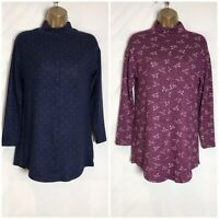 M&S Blue or Plum Soft Stretch Jersey Tunic Top Size 8 -24 (ms-288h)