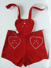 Vintage Girl's Leather Suspender Shorts With Hearts, Sz EU 128/US 7-8, Side Zip