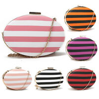 Party Prom Wedding Pink Red Purple Stripe Stripy Oval Hard Clutch Evening Bag