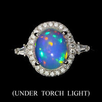 Unheated Oval Fire Opal Rainbow Luster 9x7mm White Cz 925 Sterling Silver Ring