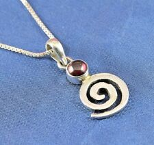 Polished Garnet & Sterling Silver Whirlpool Pendant on Sterling Silver Box Chain