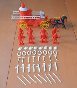 Vintage 1950s MPC Playset Plastic Fire Wagon & Fireman Figures & Accessories