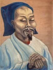 Fritz Zeh 1903 Ölgemälde Porträt Asiate Mann Mongolei China Japan Korea Moustach