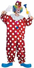 DOTTED CLOWN ADULT COSTUMES RED CIRCUS CLOWN JESTER MAN JUMPSUIT COSTUME 55052