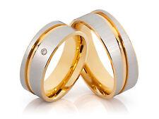 2 Eheringe Trauringe Hochzeitsringe Verlobungsringe mit Diamant & gratis Gravur