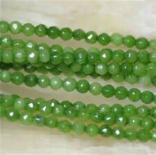 """4mm Faceted Green Peridot Round Gemstone Loose Bead 15"""" ##ZY071"""