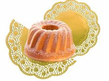 Tortenspitze Gold rund 36 cm, 4 Stück/Pack Lebensmittel Papier Dekospitze Gold