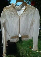 Authentic Vintage Late 1800'S White Cotton Blouse Xs Size - Handmade