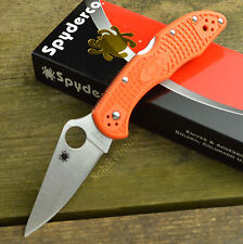Spyderco Delica 4 FFG Plain Edge VG-10 Orange FRN Lockback Knife C11FPOR