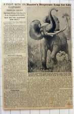 1921 Mr J Morewood Dowsett Desperate Fight With An Elephant , Uganda