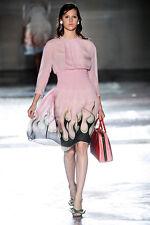 PRADA SS 2012 Runway Pink Silk Fire Dress Size 40