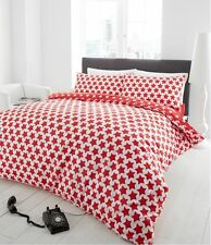 100% Brushed Cotton Stars Double Duvet Cover Quilt Cover Set in Red & White