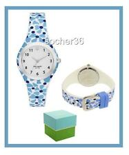 KATE SPADE RUMSEY WHITE & BLUE FLORAL SILICONE STRAP WATCH KSW1087 NIB $150