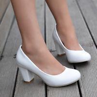 UK Womens Block High Heel Platform Shoes Round Toe Plus Size Court Pumps Slip on