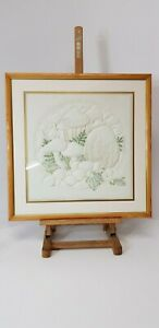 WONDERFUL HANDMADE QUILTED EMBROIDERED PICTURE TOADSTOOLS FERNS QUALITY FRAMED