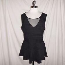 NEW CITY CHIC Plus Size 16W (S) Shirt Top Black Flocked Design