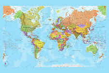 Highly Detailed World Map Large Maxi Poster Art Print 91x61 cm
