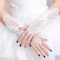WHITE / IVORY LACE WEDDING BRIDES SATIN RHINESTONE CRYSTAL LONG GLOVES