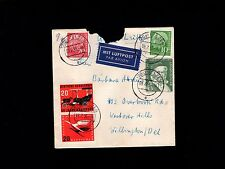 Germany 1955 Air Mail Commercial Cover Tear At Top to USA  8p