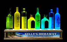 "24"" MULTI COLOR LED LIQUOR BOTTLE DISPLAY W/PERSONALIZED HIDEAWAY BAR SIGN"