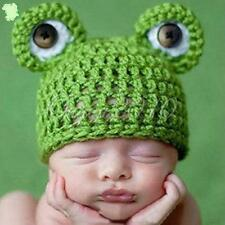 Frog Hat Newborn Baby Crochet Knit Cap Costume Photo Photography Prop Outfit