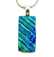 DICHROIC Glass PENDANT Green Teal Verdigris Ripple Waves Texture CHANGES COLOR