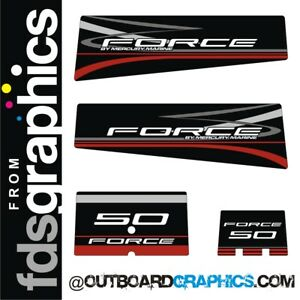 Mercury Force 50hp outboard decals/sticker kit - black design