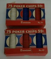 "Vintage Dennison Poker Chips No. 41 - 1 1/2"" - 2 Boxes of 75"